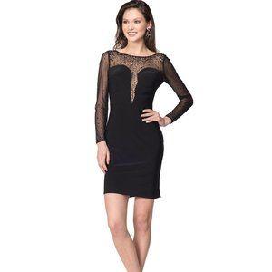 LBD Long Sleeve Little Black Dress Plunge Neck NEW